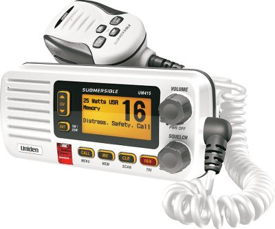 Motorsports Save space with this short-chassis, fixed-mount radio. Meets JIS-7 water-immersion standards (1 meter for 30 minutes). Features include: full class-D digital-selective calling, one-touch distress button, the ability to send and receive position information and Quik Command a one-touch access to Coast Guard channels. High-performance transceiver receives emergency channels and NOAA weather alerts. Full-dot matrix display with intuitive menu. Three-year warranty. Colors: Black, White. Color: White. - $129.99
