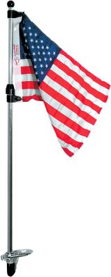 Motorsports Make use of your stern light base during the day as a flag holder with this 3/4 -diameter 48 Telescoping Flag Pole. It mounts into most two-prong stern light bases and comes with a 12 x 18 U.S. flag. Base not included. Type: Light Flag Pole with Flag. - $13.88