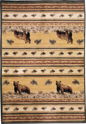 Hunting Capture the proud spirit of the outdoors in every part of your home with these area rugs. Each features one of nature's most respected monarchs, either the majestic whitetail or the mighty bear, set in a tastefully refined pine cone motif. Made from synthetic, heavyweight 100 olefin for long-lasting durability. The rich, 10-colored twisted fibers in the face are reinforced with a nonslip jute backing. Vacuum regularly or spot clean; do not dry-clean. Imported. Dimensions: 7'10 x 10'6 . Available: Whitetail Ridge, Pine Valley, Kodiak Island, Moose, Master of the Meadow, Pine Creek Bear. Size: PINE CREEK BEAR. Type: Indoor Rugs & Mats. - $399.99