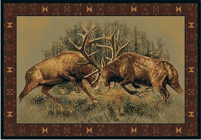 Hunting Decorate your home or office with these authentic, outdoor-inspired rugs by Buck Wear, a company thats popular across America for its wildlife images. Each features beautiful artwork surrounded by a matching border. They celebrate nature and create an instant focal point for any room. Ten-color, heat-set olefin construction offers stain- and fade-resistant durability, crisp images and vibrant color quality. Slip-resistant jute cotton backing. Vacuum or spot-clean. Cabelas exclusive. Imported. 74L x 111W. Available: Winner Takes All, Believe Deer, Fight for Dominance, Duck Predator, Matter of Truth. Type: Indoor Rugs & Mats. - $74.99