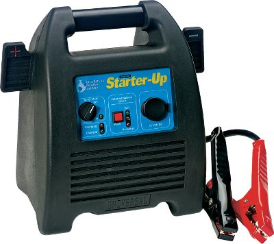 Motorsports The Marine Starter-Up is perfect for starting boats and vehicles and, extra outdoor power. It includes a maintenance-free, 12-volt 18-amp battery and a built-in, fully automatic battery charger. Its capable of starting 30 vehicles without recharging, and it can be stored up to three months without charging. It features heavy-duty No. 4 gauge 28 cables, as well as reverse hook-up protection. Weight: 18 pounds. Type: Power Packs. - $99.99