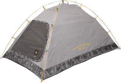 Camp and Hike A U.S. Army-licensed youth tent with color-coded fiberglass poles for quick setup and patented Gobe Dry waterproofing system to keep you comfortably dry. Two-pole free-standing tent is constructed of tear-resistant, 68-denier 600mm polyester and is trimmed in official Army ACU camo. The tight-weave mesh and ceiling vent provide ventilation, as does the easy-access D-shaped door. Two internal pockets and a gear loft provide storage. 28 sq. ft. of living space. U.S. Army-branded zipper pulls. Hot-taped seams for long-lasting weather resistance. Includes a heavy-duty carry bag for easy transport and storage. One-year warranty. Imported.Sleeping capacity: 1-2 youths or adults. Floor size: 80 x 50. Center height: 38. - $39.95