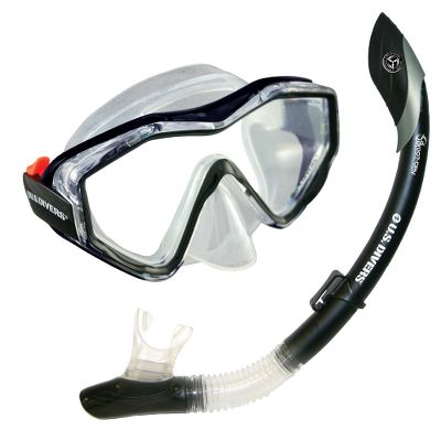 Wake The affordable Anacapa/Island Dry Combo delivers a crystal-clear, leak-free view of the underwater world and an unobstructed, easy-breathing experience.The single-lens mask provides a clear, wide, undistorted view. Its soft, one-size-fits-most face skirt seals out water for a comfortable fit across nose and brow. Easy adjustable buckles and strap hold it firmly in place.The submersible dry-top snorkel, equipped with Pivot-Dry Technology and a one-way purge valve, keeps water out and your breathing easy. Its curved full-flex section provides an adaptable fit to your mouth and face. Type: Swimming & Snorkeling Accessories. Anacapa/Island Dry. Size Adult. Color Black. - $7.88