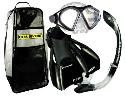 Wake Mask, snorkel, fins and even a gear bag to keep it all together, the US Divers Admiral LX/Island Dry Set has everything you need to go snorkeling beneath the waves. Set Includes: The two-window Admiral LX Mask has a soft, hypoallergenic silicone face skirt for the ultimate in snorkeling comfort. Expanded, top-to-bottom viewing keeps everything in view. Its three-way adjustable Pro-Glide buckles make an exact fit easy. The submersible Island Dry Snorkel, equipped with Dry-Top Tech and a one-way purge valve, keeps water out while diving for easy breathing when you resurface. The curved full-flex section delivers an adaptable fit. The Fins deliver superior propulsion and come equipped with Comfo-Straps for wearing comfort. The Gear Bag, made specifically to fit, transport and store your gear, boasts a mask-specific pocket. Adult sizes: S(4-7), M(7-10), L(10-13). Color: Black. - $34.88