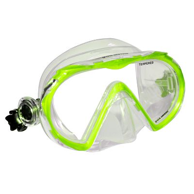Fitness Your child will spend hours looking at and exploring the world beneath the waves. This one-window, low-volume mask features a tempered-glass lens for clarity and safety. Quick-Release Easy-Adjust buckles deliver a watertight fit. One size fits most children. Color: Green. - $9.99