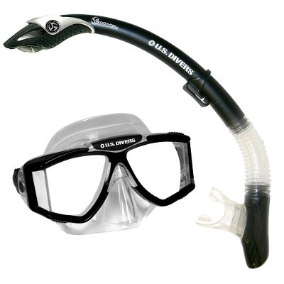 Wake This snorkel-diving combo combines the crystal-clear Sideview LXP diving mask for exceptional underwater viewing and its Snorkel delivers easy breathing while youre just beneath the surface. One size fits most adults. Color: Black. Combo Includes: The high-tech, four-window Sideview LXP mask maximizes front and side viewing. The hypoallergenic silicone face skirt gently conforms to your face for leakproof comfort. Its built-in purge valve keeps mask clear of water. Three-way adjustable buckles for easy adjustment. The submersible Snorkel with Pivot Dry-Top Tech and a one-way purge valve delivers easy, unobstructed breathing when you resurface. The hypoallergenic silicone mouthpiece for breathing comfort and long-lasting durability. The full-flex section provides a custom fit. - $37.88