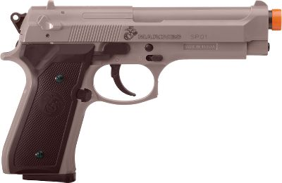 Entertainment Spring-powered pistol shoots airsoft BBs up to 325 fps. Magazine holds up to 12 BBs. Comes with abbreviated field-duty guide and souvenir dog tag with unique number. Type: Soft Air. - $19.99