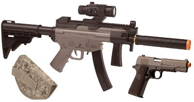 Entertainment A hard-hitting tactical airsoft combo stamped and approved by the United States Marine Corp. The heavy-duty, spring-powered, single-shot Electric Rifle boasts an adjustable tactical stock and includes a wireless, rechargeable battery and charger. The spring-powered, single-shot airsoft pistol shoots 6mm BBs up to a blazing 325 fps. Magazine holds up to 12 rounds at once and includes a USMC digital camo holster. Each gun comes with a souvenir dog tag and a unique number for online registration, along with an abbreviated field-duty guide. Partial proceeds to benefit Wounded Warriors Foundation.Kit includes: Electric-Powered Rifle Spring-Powered Pistol and Holster Type: Soft Air. - $79.99