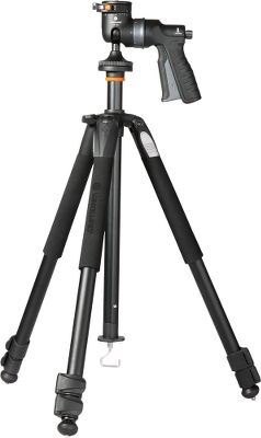 Hunting A combination of light weight, compact design and an innovative pistol-grip-ball head set this tripod apart. It was designed based on input from professional photographers to meet their exacting standards in a sleek, modern design. The result is an instrument that offers superior stability, is reliable, easy to use and durable enough to stand up to rigorous outdoor applications. The GH-100 pistol-grip-style ball head makes positioning cameras or spotting scopes quick, precise and secure with one-handed operation. Its friction-control system lets you customize the amount of tension to initiate movement. The three telescoping legs adjust to 25, 50 and 80 angles to allow for low-angle shots. Extended height (with column): 64-5/8. Folded height: 26-3/8. Weight: 4.75 lbs. Maximum loading capacity: 15.4 lbs. Model: Alta+ 263AGH. - $199.99