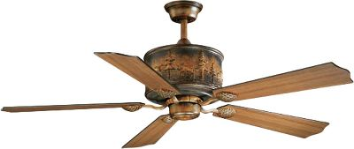 Outdoor-inspired design meets modern efficiency in this rustic four-light fan. Reversible, adjustable-speed motor cools in the summer, distributes heat in the winter to ease the strain on your HVAC system and control utility costs. Plus it looks great with a burnished bronze patina and real wood finish. Amber flake glass gives off a golden glow. The five blades are finished on both sides, allowing you to customize the look to match your dcor. Includes speed/dimmer remote control and 6 downrod. 78 lead wire. Light kit adaptable. Overall height: 18 (when installed with the 6 downrod). Diameter: 56. Color: Bronze. Color: Bronze. Type: Ceiling Fans. - $549.99