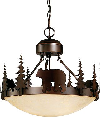 Entertainment Suspend this bear-themed light above your dining room table to lend a bit of outdoor-inspired elegance to your dcor. Warm amber flake glass delivers a mellow glow from the three-bulb fixture. Burnished bronze design gives the appearance of age in a safe, modern light. Can be mounted semi-flush or hanging with the included 6-ft. chain. Dimensions: 18-1/2W x 16-1/2H. Color: Burnished Bronze. - $294.99
