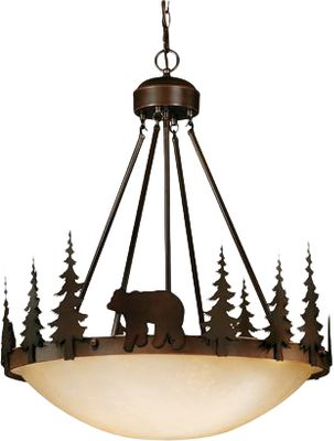 Entertainment A great room needs a great light, and this four-bulb pendant is perfect when you want to add rustic authenticity to your dcor. Large amber flake bowl casts a bright glow to light any living space, and the burnished bronze fixture with bear and pine motif is always in style. Requires four medium-base 100-watt bulbs (not included). Dimensions: 24W x 29-1/2H. Color: Burnished Bronze. - $331.50