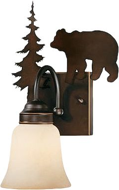 Hunting The right lighting is critical to the perfect bathroom dcor and if its outdoor inspiration youre after, no light does it better than these fluted down lights. Burnished bronze fixtures feature a rustic bear silhouette over amber flake glass lamps. Available: Single-light dimensions: 13-3/4H x 8-2/3W x 7-3/4D. Double-light dimensions: 13-3/4H x 16-2/3W x 7-3/4D. Three-light dimensions: 13-3/4H x 24-2/3W x 7-3/4D. Four-light dimensions: 13-3/4H x 33W x 7-3/4D. Color: Burnished Bronze. Type: Vanity Lights. - $100.99