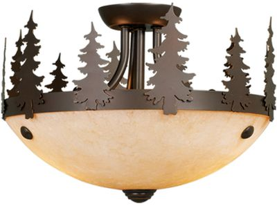 Entertainment This two-bulb light offers a host of options for your home or cabin dcor. Mount it semi-flush with the ceiling in your kitchen, dining or living room; add it to an existing ceiling fan or hang it as a drop-style light. The rustic lamp has an evergreen tree motif and burnished bronze finish that never goes out of style, making it the perfect addition to your home or cabin. Amber flake glass casts a warm and golden glow from the two candelabra-base bulbs (not included). Pull-chain switch light. Dimensions: 11-1/2W x 8H. Color: Burnished Bronze. Color: Burnished Bronze. - $135.99