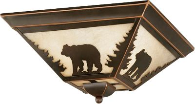 Hunting Rustic, flush-mount ceiling light looks great with a bear in the woods design silhouetted against the amber flake glass. Cast a warm and golden glow from a 100-watt standard-base bulb (not included). Fixture is finished in an age burned bronze patina. Dimensions: 14 x 14. Color: Bronze. Type: Ceiling Lights. - $140.99