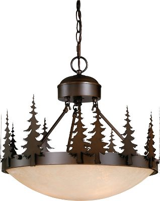 More than just another light, this eye-catching work of art coordinates with any outdoor-themed dcor while casting a warm light in the room. The burnished bronze finish and amber-flake glass give it an antique patina. Requires three, medium-based 100-watt bulbs. Dimensions: 16-1/2 H x 18-1/2W x 18-1/2D. Color: Burnished Bronze. Type: Chandeliers. - $294.99