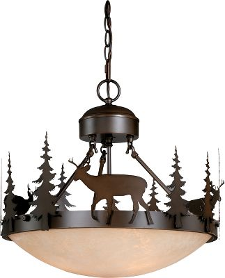 More than just another light, this eye-catching work of art coordinates with any outdoor-themed dcor while casting a warm light in the room. The burnished bronze finish and amber-flake glass give it an antique patina. Requires three 100-watt, medium-base bulbs. Dimensions: 16-1/2H x 18-1/2W x 19-1/2D. Color: Burnished Bronze. Type: Chandeliers. - $298.99