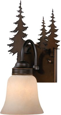 More than just another light, this eye-catching work of art coordinates with any outdoor-themed room. The burnished bronze finish and amber-flake glass give it antique patina. Requires one 100-watt, medium-base bulbs. Dimensions: 13H x 8-1/2W x 8D. Color: Burnished Bronze. Type: Wall Lights. - $100.99
