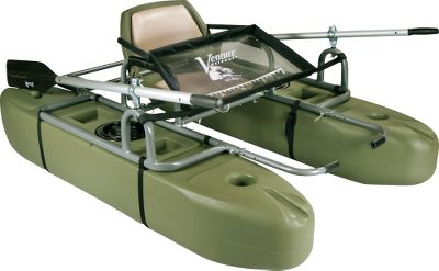 Fishing Punctureproof pontoons dont require inflation and feature a flat, tabletop workspace; four molded-in storage bins; two cup holders; molded-in oar rests; and two cloverleaf recesses for foam-handled fish nets. The boat assembles quickly with the use of clevis pins to connect the strong, lightweight aluminum-alloy frame and a durable strap system to attach the pontoons to the frame. Hybrid rear cargo rack accepts Transport Kit (sold separately) for easy wheeling to and from the water and Battery Box/Motor Mount (sold separately) for attaching a small electric trolling motor. Four-point-attachment fly apron has raised edges to hold smaller items in place and a printed ruler. Padded folding seat. Made in USA.Weight capacity: 300 lbs. Weight: 67 lbs. Dimensions: 72L x 48W x 27H fully assembled. Type: Pontoons. Vomod 6t Pontoon. - $499.88