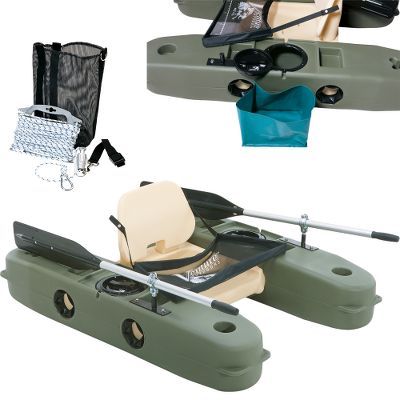 "Fishing Now you can purchase the puncture- and leakproof Modular 5 kick boat fully outfitted with popular accessories at an affordable combo price.Combo includes: Modular 5 Kick Boat Get on the water faster. This Kick Boat assembles in about a minute. Its innovative hard-shell pontoons are nearly punctureproof, and they never need inflating. Each pontoon has an 8""-diameter access port for dry storage and a flat-topped design for a tabletop workspace or holding small coolers and tackle boxes. Include four molded-in storage bins, two cup holders and two cloverleaf-shaped holders for foam-handled fish nets. Standard fly-fishing apron with printed measuring scale. Disassembles easily for space-saving transport in most small cars. Fold-down seat. Made in USA. Length: 5 ft. Weight capacity: 275 lbs. Weight: 39 lbs. Dimensions: 60""L x 43""W fully assembled. Venture Outdoors Anchor Kit with Rope It's the easiest way to rig up an anchor to your one-person pontoon. Simply place a 5- to 10-lb. river rock inside the rock bag to anchor. Attaches to craft using secure buckle strap. Includes bag, rope, rope tightener, spring link and D-rings. Made in USA and Imported. (2) Venture Outdoors Modular Gear Sacks Kit includes two gear sacks. The durable, waterproof material keeps your gear organized and dry. Attaches to inside of VO Modular Pontoon access hatches. Made in USA. - $439.99"