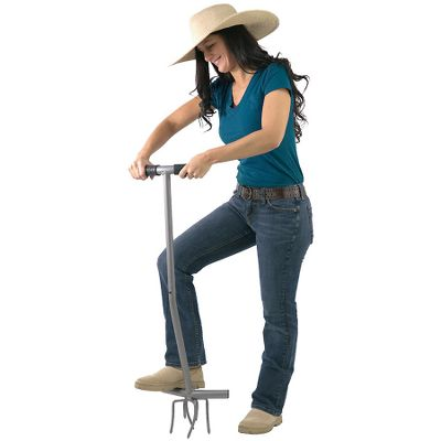 Camp and Hike Break up the top layer of soil with a simple twist using this comfortable stepping tool. Easy-step platform naturally positions the body over the work head, and combines with the angled-forward handle to improve balance and eliminate the extra effort of leaning forward to break ground. The sturdy tool is crafted of solid steel and has rubber grip handles. Imported.Dimensions: 41L x 12W x 6-1/2H. Type: Yard Tools. Type: Turf Aerator. Cultivator. - $39.99