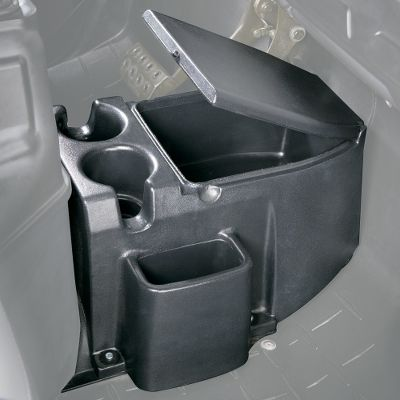 "Camp and Hike Make use of the center console space of your UTV for beverages and for organizing readily used gear like your GPS. It has a storage compartment with lid, two large cup holders and a GPS holder slot. Made from durable, rotational-molded plastic and mounts to existing floor holes with included stainless steel hardware. Fits '03-'07 Yamaha Rhino only.Dimensions: 16"" x 15"" x 10"".Weight: 10 lbs. Type: UTV Center Console. - $119.99"