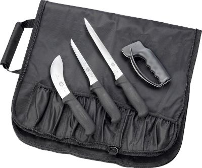 Whether in the field, at home butchering or preparing meat for cooking, this four-piece, commercial-grade knife set has you covered. Ergonomic, Fibrox Pro handles ensure a secure grip. Made in Switzerland. Includes: 5 skinning knife - Overall length: 12.25 6 boning knife - Overall length: 11.4 8 flexible fillet knife - Overall length: 13.5 Sharpener - $109.99