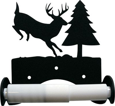 Hunting Simple and elegant, this toilet paper holder features the silhouette of a jumping deer or rustic pine cones. Theyre the perfect addition to any outdoor-themed bathroom, and pair nicely with Cabelas wrought iron towel bars and rings (both sold separately). The powder-coated finish is baked on for durability inside and out. Mounting hardware and plastic roller included. Available: Deer and Pine Tree Overall dimensions: 6-1/8H x 5-1/4W x 3-3/8D. Silhouette dimensions: 3-1/2H x 5-1/4W. Pine Cone Overall dimensions: 6-1/4H x 5-1/4W x 3-3/8D. Silhouette dimensions: 3-1/2H x 4-1/2W. - $24.99