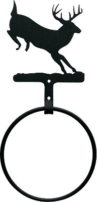 Hunting Simple and elegant, this towel ring features either the silhouette of a jumping deer or rustic pine cones. Its the perfect addition to any outdoor-themed bathroom or kitchen, and pairs nicely with Cabelas wrought iron towel bar and toilet-paper holder (both sold separately). The powder-coated finish is baked on for durability inside and out. Large enough to accommodate full-sized bath towels. Mounting hardware included. Available: Deer Overall dimensions: 11-3/8H x 5-1/2W. Silhouette dimensions: 5H x 4-4/5W. Pine Cone Overall dimensions: 11-7/8H x 5-1/2W. Silhouette dimensions: 5H x 4-3/4W. - $19.99