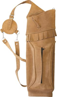 Hunting A traditional large back quiver crafted of split-grain leather with a hard bottom insert. Right hand. Zippered pocket. Adjustable straps. 2-12 arrow separator. 22-12 tall. Color: Brown. Type: Back Quivers. - $67.99