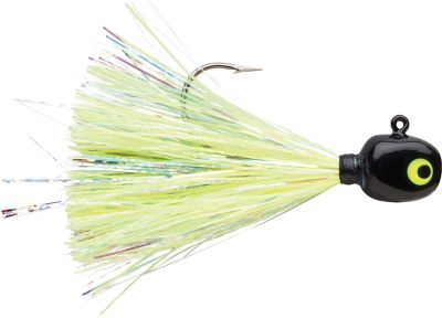 Fishing Glow-in-the-dark skirts and flashabou fibers on these jigs grab the attention of hungry fish, and premium high-carbon steel hooks seal the deal at the strike. Add live bait or plastic trailers for additional temptation. Per 2.Sizes: 1/8 oz., 1/4 oz., 3/8 oz. Colors: (001)Black Chartreuse, (003)Purple Albino, (005)Red White, (007)Hornet, (009)Crappie Minnow. - $3.49