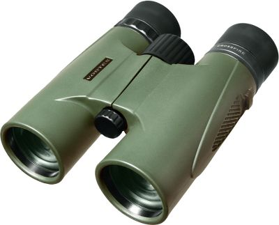 Hunting These rubber-armored binoculars offer feature-packed value and compact roof-prism construction for high-impact durability. Fully multicoated optics increase light transmission and boost contrast for bright, crisp images. O-ring-sealed and nitrogen-purged for waterproof, fogproof performance. Center-focus wheel and right-eye diopter for fine-tuned clarity. Twist-up eyecups for eyeglass wearers. Nonslip rubber grip. Compatible with tripod adapters for use on a tripod or window mount (sold separately). Includes rainguard, tethered objective lens covers, comfortable neck strap and a soft carry case. - $139.99