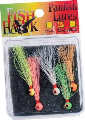 Fishing Each hand-tied jig features a Glo Crystal Flash tail and a round head with an X-Treme Glo Finish for attracting panfish. Double painted eyes for a lifelike look. Epoxy-coated thread for long-lasting durability. Premium red Aberdeen hooks. Per 5. Sizes: 1/16 oz., 1/32 oz. Color: Red. Type: Panfish Jigs. - $3.99