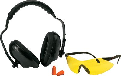 The complete solution for hearing and eye protection. The earmuffs feature a padded head band and are adjustable for a secure sound-reducing fit. These compact muffs have a Noise Reduction Rating of 22db. The glasses have an adjustable nose pad and a redesigned contour that allows air to flow freely to prevent fogging. The lenses are made of high-grade polycarbonate which meets ANSI Z87.1 shatterproof standards. Also included is a pair of contoured foam plugs that provides a 31db NRR. Gender: Male. Age Group: Adult. Type: Eye/Ear Combo. - $19.99