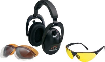 Alpha Power Muffs amplify sounds with two directional microphones, but Sound-Activated Compression automatically reduces sudden or unsafe sounds. Shooting glasses adjust for a custom fit. Four polycarbonate lenses included. Imported. - $49.88