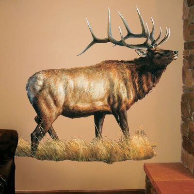 Hunting These wall graphics, designed by some of todays most prolific wildlife artists, are so lifelike your guests will swear they are jumping, walking, and flying right off your walls. Each design is form-cut to the shape and contour of the animal or object for enhanced realism. Color printed on top-quality vinyl with incredible attention to detail. Just peel and place the low-tack back on your desired wall. Misalignments and repositioning are a breeze just peel off and reposition. These art pieces wont leave unsightly damage to your walls like other adhesive wall hangings. Made in USA. Dimensions: 6 ft. x 4 ft. Available: Elk (by Rosemary Millette) Whitetail (by P.C. Wiers) Whitetail 2 (Whitetail photo) Pheasant Black Lab Black Bear Deer Jumping Whitetail Color: Black. Type: Wall Decals/Graphics. - $79.99