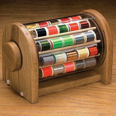 Flyfishing Organize your thread spools for quick reference and eliminate clutter on your work area. This solid oak Spool Safe holds 40 spools of thread and will look great on your fly-tying desk. It rotates for easy selection. 7-1/4H x 11-1/4L x 6-1/2W. Color: Oak. - $49.99