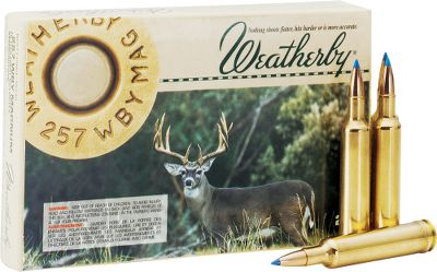Hunting Always loaded to precise standards, Weatherby Rifle Ammo is enhanced with the supreme on-game performance of bullets from the top manufacturers in the industry. Features Norma brass, Norma powders and custom primers for the utmost consistency. Per 20. Bullet Weight: 100 Grain. Type: Centerfire Rifle Ammunition. Caliber: .257 Weatherby Magnum. Bullet Type: Spitzer. Cal/Gaug 257wbymag 100gr Sptz. - $39.99