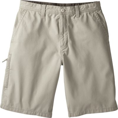"These shorts have five pockets, including a vertical zippered pocket on the right thigh. 100% cotton micro canvas is enzyme-silicone-washed for softness. Imported. Inseam: 10"". Waist sizes: 30-42.Colors: Brown, Khaki, Pasture. - $9.99"