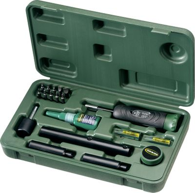 Hunting Have everything you need to mount scopes, bases and rings in one handy tool kit. This kit comes in an organized hard case thats easy to store and transport. Includes a torque wrench and SureThread adhesive to prevent the loosening of mounting screws caused by the shock and vibrations generated from recoil. You also receive an assortment of commonly used bits, a leveling system, a lapping bar, 1 alignment pins and lapping compound. - $129.99