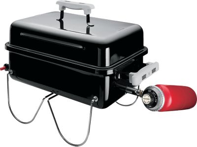 Camp and Hike The convenience of gas cooking saves time and mess, but you cant wheel your big gas grill to the campground or stadium parking lot. Or maybe your porch or deck at home may not have the space for a big gas grill. Enter the compact Weber Go-Anywhere Grill. Just screw in a 1-lb. propane cylinder and the easy push-button ignition system lets you instantly put the flame to meat, fish and other foods - no more waiting for coals to reach the right temperature. Webers Flavorizer System distributes heat evenly across the 160-sq.-in. cooking surface and virtually eliminates flame flare-ups caused by dripping grease. Fuel tank not included. Five-year limited warranty.Dimensions: 14-1/2H x 21W x 12-1/4D. Weight: 15 lbs. - $64.88