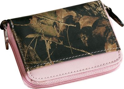 Entertainment Capture the spirit of the great outdoors with a feminine touch. Zip closures span three sides for full opening. Divided expandable coin purse. Two interior card slots. Two external card slots. Attached key ring. Imported. Dimensions: 4.5L x 3.25W x .75D. Camo pattern: Mossy Oak Break-Up with Pink trim. Size: One Size. Color: Camo. Gender: Female. Age Group: Adult. Material: Leather. Type: Wallets. - $19.99