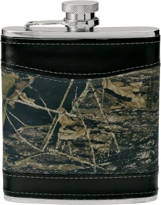 Crafted of genuine leather and made just the right size for slipping into a hip pocket, this 6-oz. flask is what you'll want to have on hand when it's time to wet your whistle. The stainless steel flask is wrapped in a combination of black and camo leather for a classy outdoor look. And because the cover is fastened to the flask you won't have to worry about losing it. Camo pattern: Mossy Oak Break-Up . - $14.88