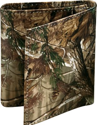 Entertainment Show your love of the outdoors in a new and unique way. All are made of a rich 2.5-oz. genuine cow leather and, through a revolutionary heat and pressure process, are permanently printed with one of todays most popular camouflage patterns. Camo pattern: Realtree AP. Available: Checkbook Cover Seven pockets, clear-view window and duplicate check divider. Dimensions: 6.75L x 3.75W x 0.5H. Tri-Fold Seven pockets, full-length bill divider and clear-view window. Dimensions: 4.25L x 3.5W x .75H. Magnetic Front-Pocket Wallet Exterior money clip uses four super-strong magnets to secure your bills. Features four credit-card pockets and a clear-view window. Dimensions: 4L x 3W x 1H. Billfold Full-length bill divider, seven pockets and removable ID/credit-card holder. Dimensions: 4.5L x 3.5W x .75H. Color: Camo. Gender: Male. Age Group: Adult. Pattern: Camo. Material: Leather. Type: Wallets. - $36.99