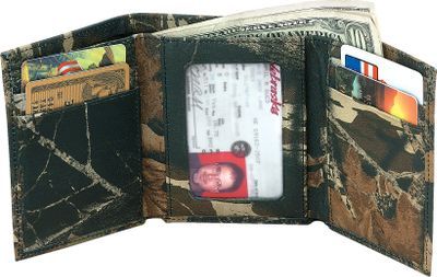 Hunting Capture the spirit and ruggedness of the great outdoors with a tough genuine-leather tri-fold. The rich 2-1/2-oz. genuine cow leather is permanently printed with popular camouflage patterns through a revolutionary heat and pressure process. Seven storage pockets, full-length bill divider and clear-view window. Imported. 4.25L x 3.5W x .75D. Camo pattern: Mossy Oak Break-Up. Color: Camouflage. Gender: Male. Age Group: Adult. Pattern: Camouflage. Material: Leather. Type: Wallets. - $36.99