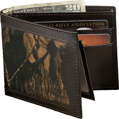 Show your connection to the outdoors with this camo/leather billfold. Rich, long-lasting 2-1/2-oz. cowhide is Mossy Oak Break-Up heat-and-pressure printed for a look that stands out and won't fade. It has seven pockets, a full-length bill divider and removable credit-card/ID holder. Imported. Dimensions: 4-1/2 L x 3-1/2 L x 3/4 H. Camo pattern: Mossy Oak Break-Up. Size: L. Color: Camo. Gender: Male. Age Group: Adult. Pattern: Camo. Material: Leather. Type: Wallets. - $36.99