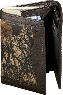 Show your connection to the outdoors with this camo/leather tri-fold. Rich, long-lasting 2-1/2-oz. cowhide is Mossy Oak Break-Up heat-and-pressure printed for a look that stands out and won't fade. Has seven pockets, a full-length bill divider and clear-view ID window. Imported. Dimensions: 4-1/4 L x 3-1/2 W x 3/4 H. Camo pattern: Mossy Oak Break-Up. Size: L. Color: Camo. Gender: Male. Age Group: Adult. Pattern: Camo. Material: Leather. Type: Wallets. - $36.99