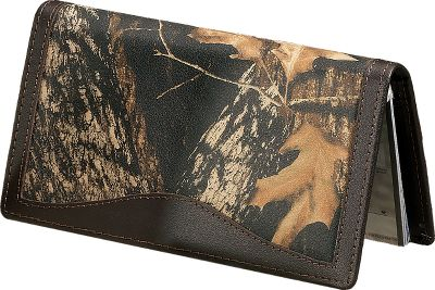 Show your connection to the outdoors with this camo/leather checkbook cover. Rich, long-lasting 2-1/2-oz. cowhide is Mossy Oak Break-Up heat-and-pressure printed for a look that stands out and won't fade. Has seven pockets, a clear-view ID window and a duplicate-check divider. Imported. Dimensions: 6-1/2 L x 3-1/2 W x 3/4 H. Camo pattern: Mossy Oak Break-Up. Size: L. Color: Camo. Gender: Male. Age Group: Adult. Pattern: Camo. Material: Leather. Type: Checkbook Covers. - $36.99
