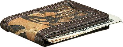 Show your connection to the outdoors with this camo/leather money clip. Rich, long-lasting 2-1/2-oz. cowhide is Mossy Oak Break-Up heat-and-pressure printed for a look that stands out and won't fade. Strong four-magnet closure secures bills. Imported. Dimensions: 2-3/4 L x 2 W x 1/2 H. Camo pattern: Mossy Oak Break-Up. Size: L. Color: Camo. Gender: Male. Age Group: Adult. Pattern: Camo. Material: Leather. - $17.49