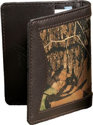Entertainment Show your connection to the outdoors with this camo/leather Magnetic front-pocket wallet. Rich, long-lasting 2-1/2-oz. cowhide is Mossy Oak Break-Up heat-and-pressure printed for a look that stands out and won't fade. Its exterior money clip has strong magnets to secure bills; interior features four credit-card pockets and a clear-view ID window. Imported. Dimensions: 4 L x 3 W x 1 H. Camo pattern: Mossy Oak Break-Up. Size: L. Color: Camo. Gender: Male. Age Group: Adult. Pattern: Camo. Material: Leather. - $20.99